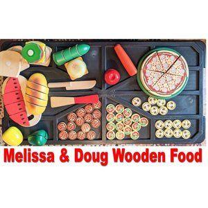 MELISSA & DOUG 90+ Piece Painted Wood Food STEM